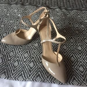 Franco Sarto T-strap sand color patent heels